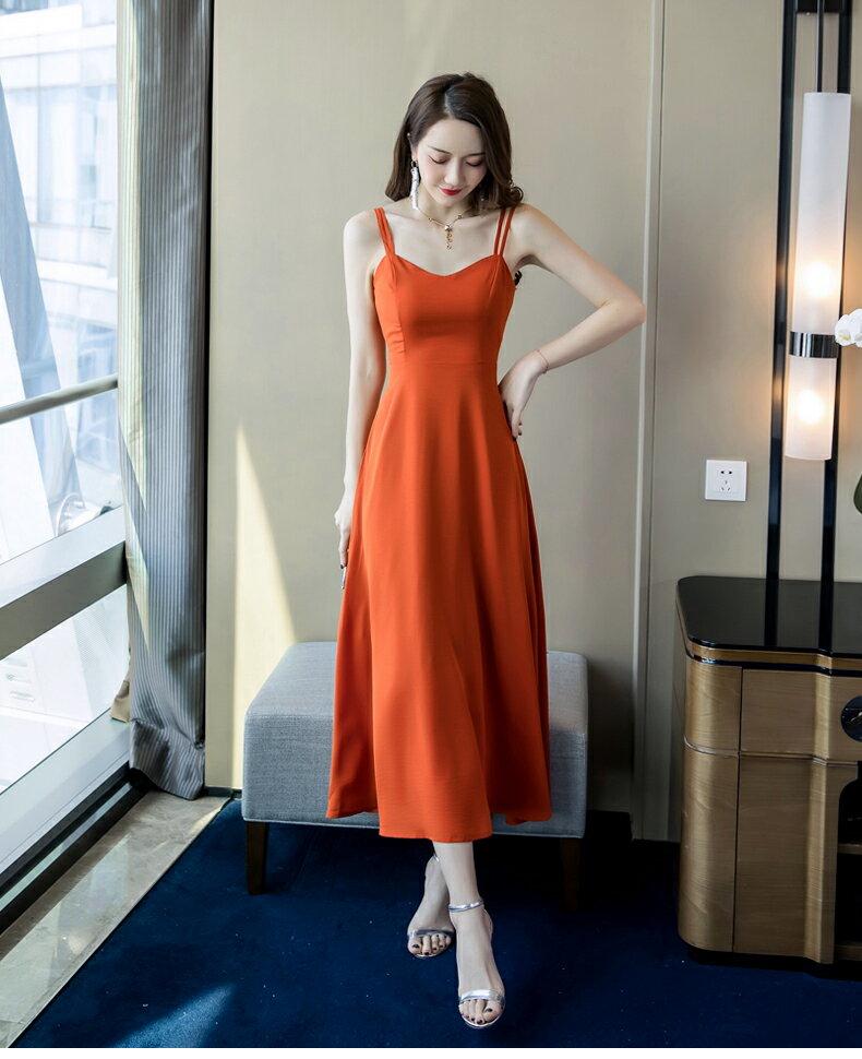 《全店75折》收腰顯瘦細肩帶長洋裝(S-XL)- 梅西蒂絲(現貨+預購)