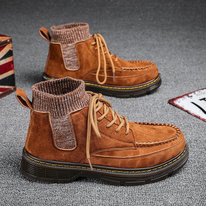 馬丁靴 馬丁短靴 馬丁靴男冬季沙漠皮靴高幫短靴子英倫風機車工裝鞋男士高幫潮鞋男【xy1653】