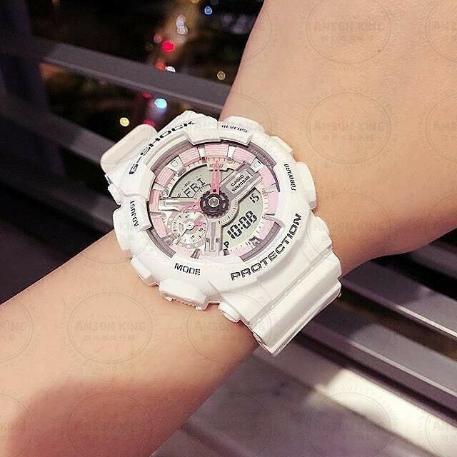 國外代購 CASIO G-SHOCK GMA-S110MP-7A 雙顯 運動防水手錶腕錶電子錶男女錶 雪白粉 2