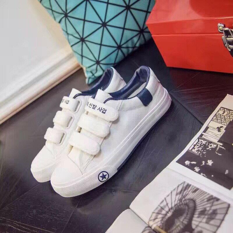格子舖*【AA3823】基本款百搭時尚簡約 魔鬼氈穿拖 布面鞋帆布鞋 3色 6