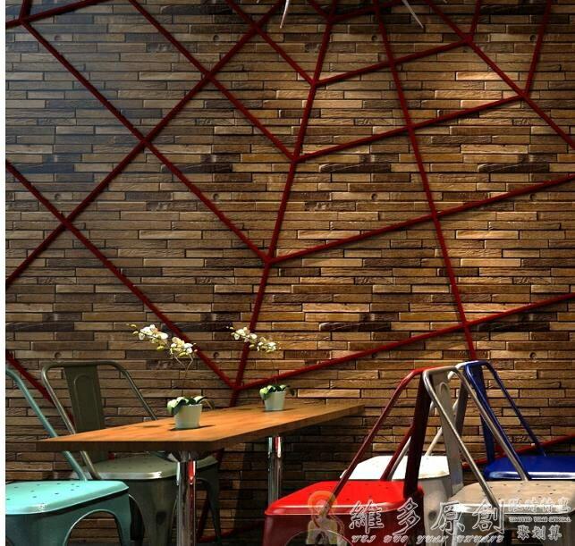壁貼壁紙 復古新中式仿木頭木板紋木紋墻紙酒吧餐廳古典仿古懷舊服裝店壁紙