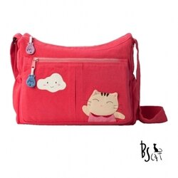 【ABS貝斯貓】貓布包斜側包 可愛貓咪拼布 肩背包 斜揹包(粉色88-210)【威奇包仔通】