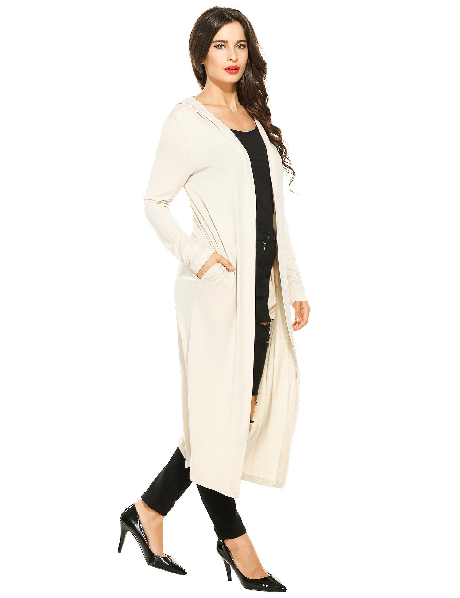 Women Casual Hooded Long Sleeve Solid Maxi Cardigan 3