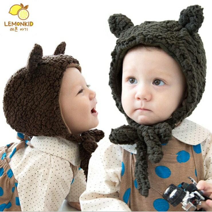 WallFree窩自在~ 可愛小耳朵柔軟綁帶式保暖兒童毛絨帽