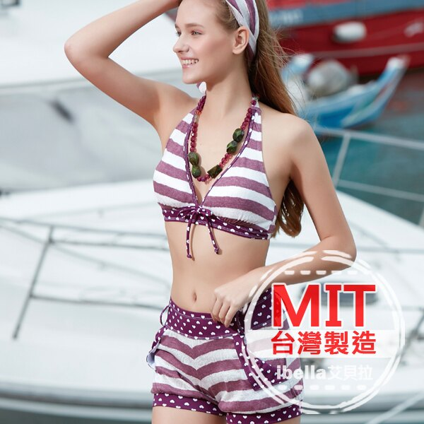 比基尼泳裝 MIT 條紋圓點拼接二件式比基尼褲裝泳衣^(附帽^)  ~36~66~8513