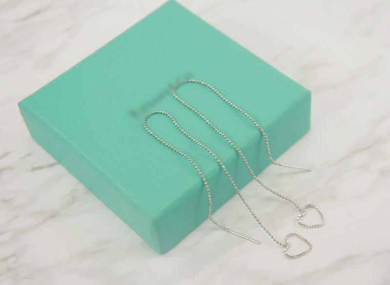 2385851愛心波紋活動式金屬鍊條耳環、耳扣、耳勾、耳針、耳飾