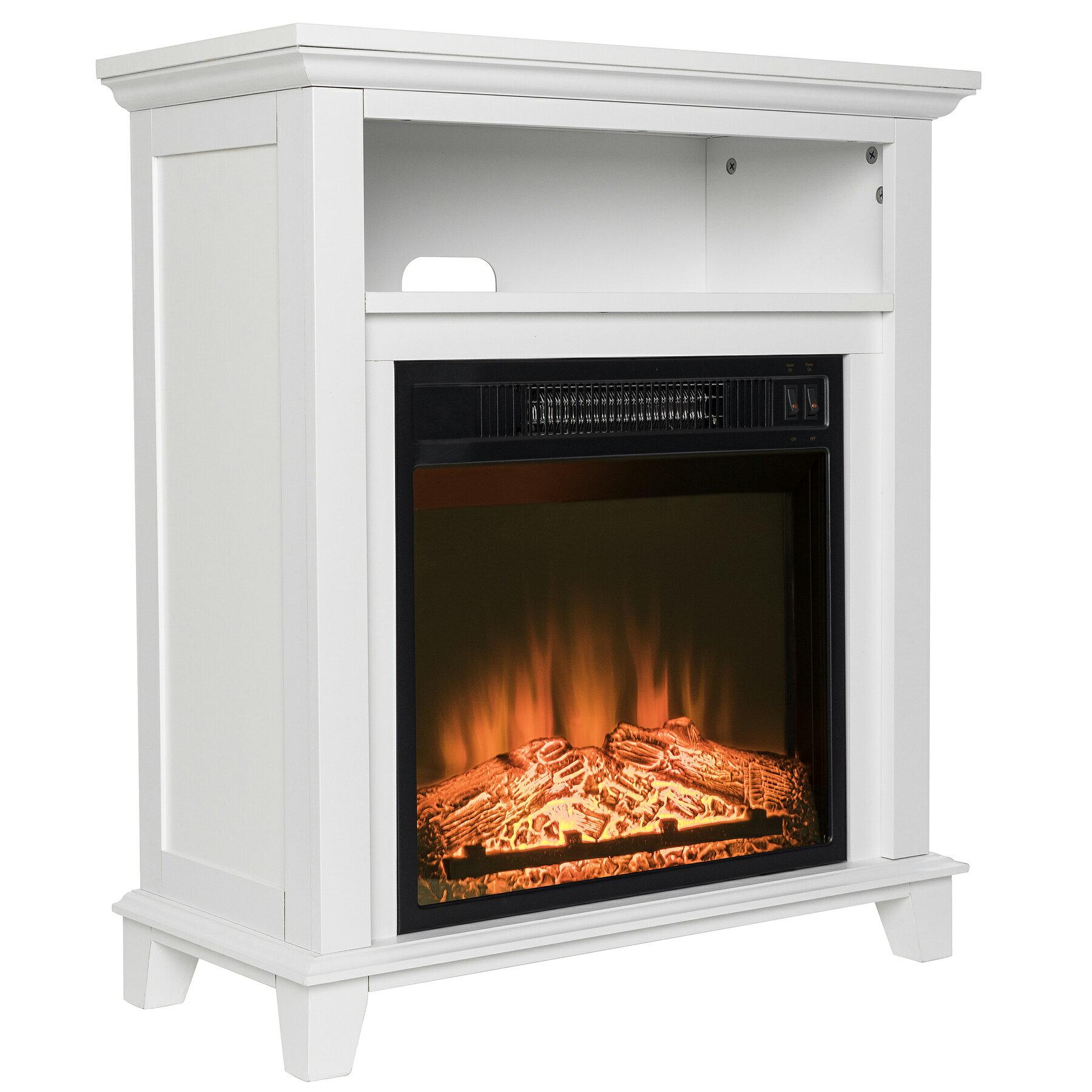 Akdy White Wooden Mantel Shelf Freestanding Electric Fireplace Stove Heater 2