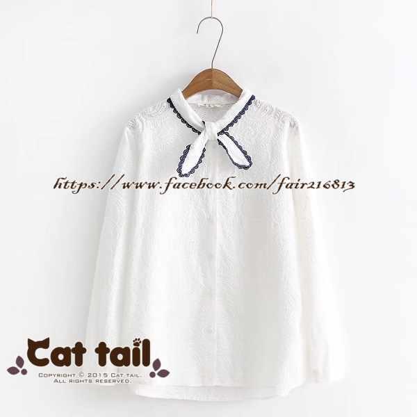 《貓尾巴》TS-0439小清新領口繫帶長袖襯衫(森林系日系棉麻文青清新)