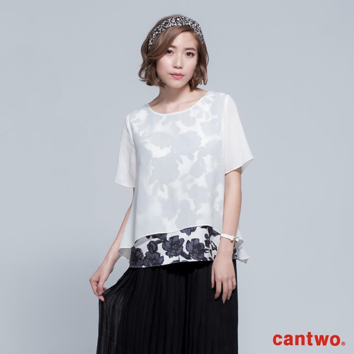 cantwo透視風印花假兩件雪紡上衣(共二色) 0