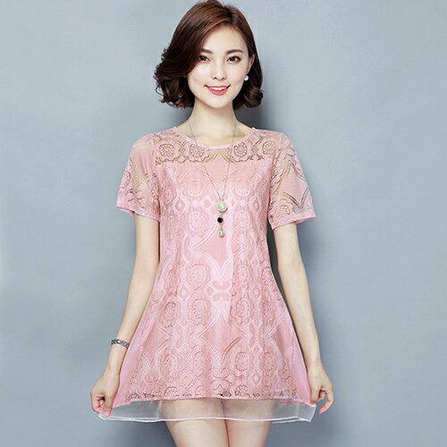 蕾絲衫顯瘦衫 (3色,M~4XL)【OREAD】 0