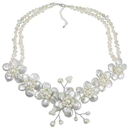 White Coin Pearl Cluster Sakura Flower .925 Silver Necklace 0