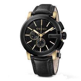 Gucci 古吉YA101203時尚黑金 計時腕錶 黑面