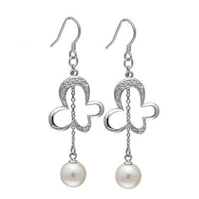 ~925純銀耳環鑲鑽耳飾~典雅奢華珍珠花卉母親節生日情人節 女飾品73dm260~ ~~米