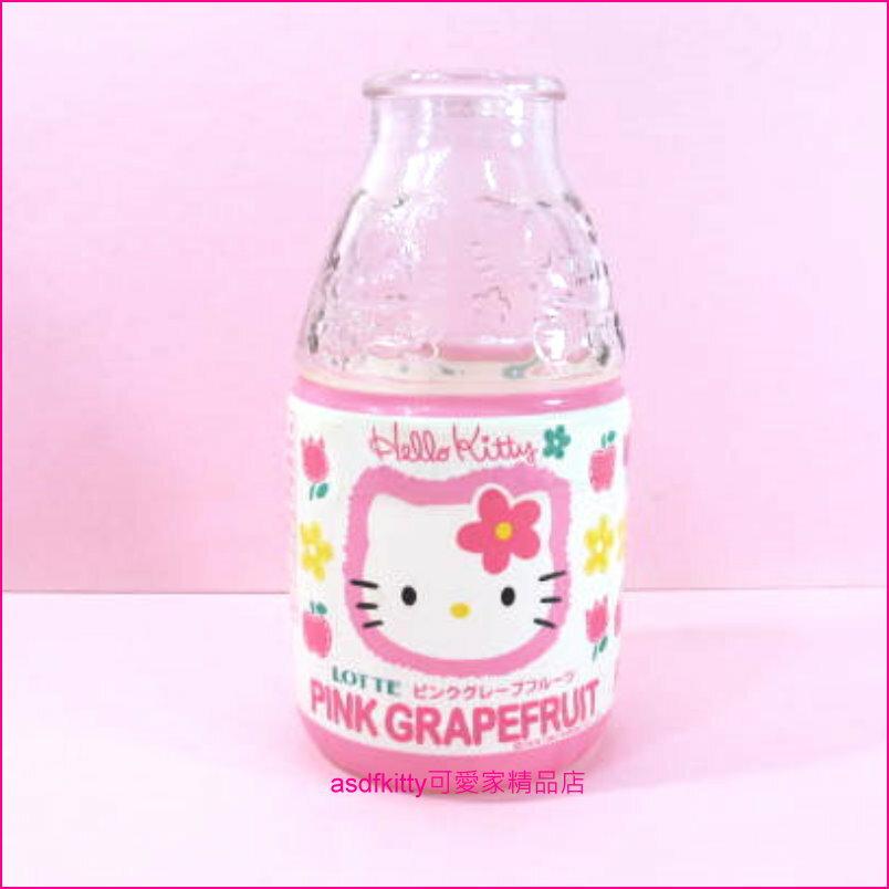 asdfkitty可愛家☆二手商品-KITTY蘋果版玻璃浮雕瓶-花瓶/空瓶-1997年絕版商品