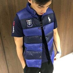 美國百分百【Ralph Lauren】羽絨 背心 外套 RL 上衣 Polo 大馬 徽章 深藍寶藍 XS S號 I720