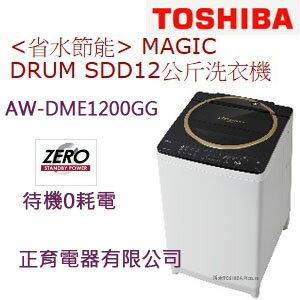【正育電器】【AW-DME1200GG】TOSHIBA 新禾 東芝 12公斤 MAGIC DRUM SDD變頻洗衣機 待機0耗電 神奇去汙鍍膜洗衣槽 Mega POWER 3D強力迴轉盤 金耀黑色 免運費 含基本安裝