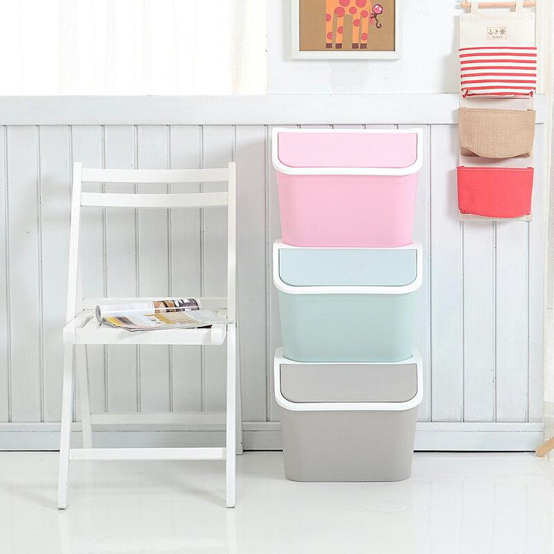 馬卡龍色系收納箱 上掀式置物櫃 玩具整理櫃 衣物收納 垃圾桶 (三入一組) (三色 粉 綠 灰)【MAMAGO】