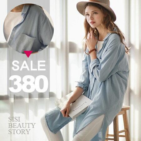 SISI~L6038~ 翻領中長款長袖開襟亞麻開叉襯衫罩衫外套