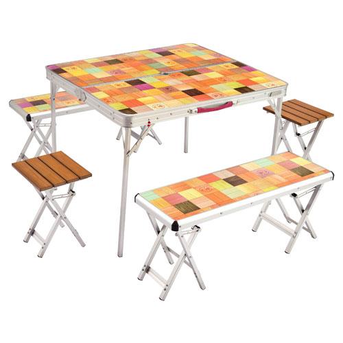 【露營趣】中和 附桌巾手電筒 Coleman CM-26757 自然風桌椅組 一桌四椅 摺疊桌 休閒桌 露營餐桌