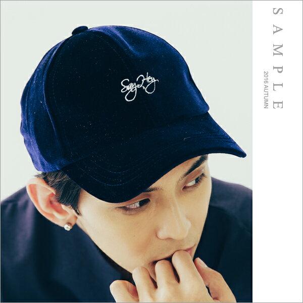 sample:現貨韓國製老帽質感滑面絨布字母刺繡【AM17102】-SAMPLE