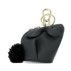 寶思精品正貨保證 Loewe 羅威軟紋小牛皮 Bunny兔子零錢包 黑色