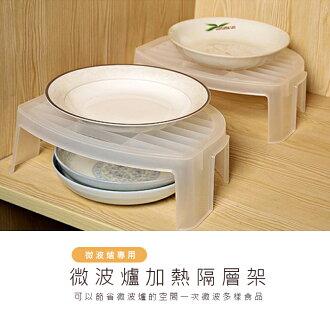 【酷創意】微波爐隔熱架 多功能分層置物架 雙層白色碗碟託盤架隔熱架(E231)