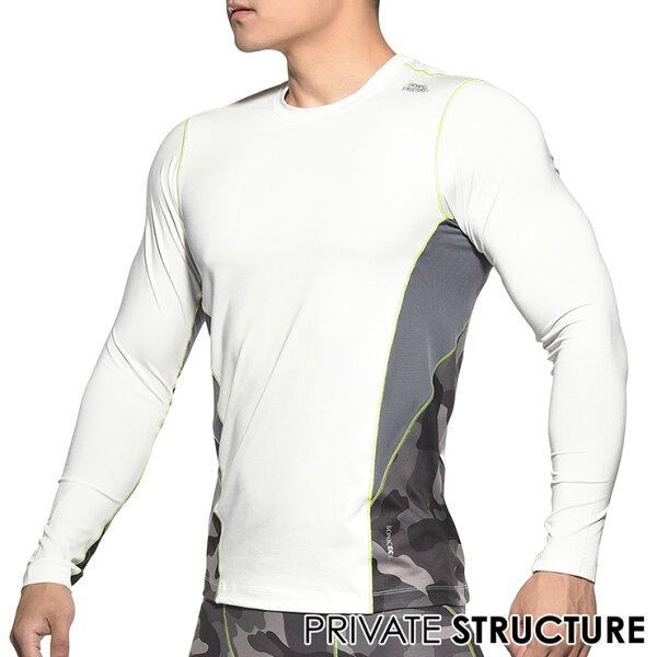 IF時尚購物:★新品上市★P.S摩登系列-專業運動機能型男訓練長袖上衣T恤(白色),PMGMT3468W1,PrivateStructure