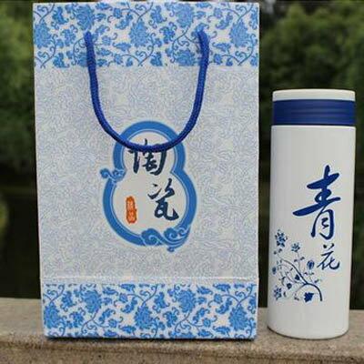【陶瓷保溫杯禮盒裝-400ML-2個/組】保溫杯 青花瓷禮品杯 定制廣告杯 陶瓷保溫杯-7270702