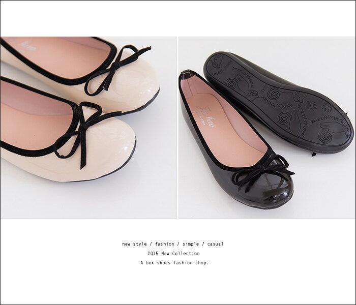 格子舖*【Ai290】MIT台灣製 OL上班族穿搭必備百搭素面亮皮圓頭平底包鞋 娃娃鞋 2色 2
