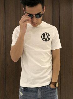 美國百分百【ArmaniExchange】T恤AX短袖logo上衣T-shirt網格洞洞白黑I952
