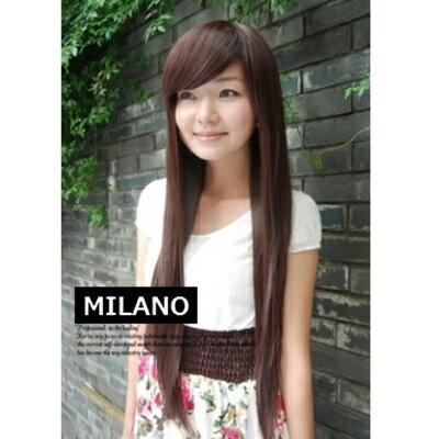 假髮整頂假髮長假髮 ~ 氣質直髮斜瀏海女 2色73em33~ ~~米蘭 ~