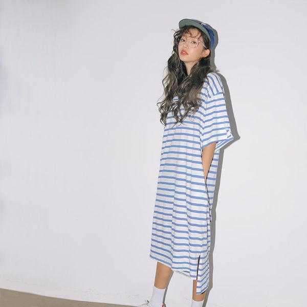 PS Mall  經典百搭 開叉元素條紋短袖連身裙 洋裝【T1496】 1