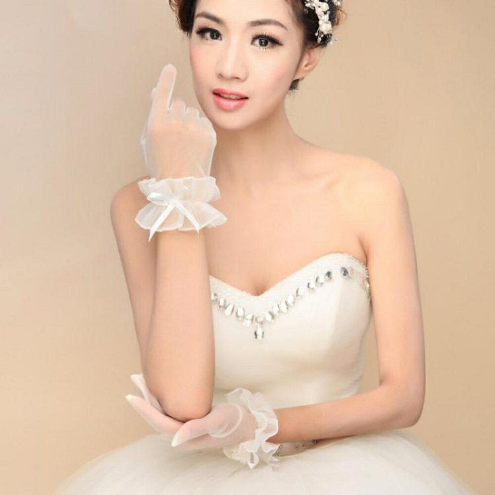 新娘手套  結婚新款婚紗春夏甜美新娘手套婚禮短款白色蕾絲結婚花朵手套 coco衣巷 1