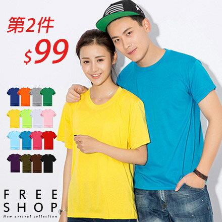 《Free Shop》短T Free Shop【QFSZL0001】多色款純色百搭素T圓領棉質短T短袖上衣潮T 情侶款 有大尺碼 S~L