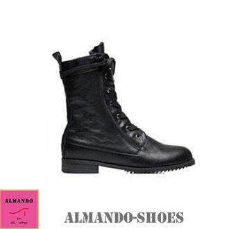ALMANDO-SHOES★軟皮霧面綁帶中筒靴★秋冬新款 中筒靴