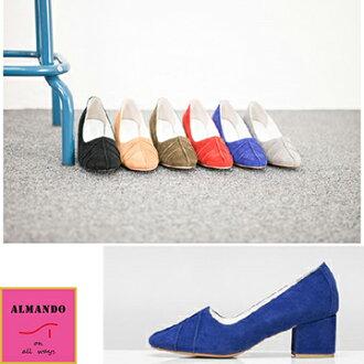 ALMANDO-SHOES★正韓麂皮葉紋低粗跟鞋★ 韓國空運 女性休閒鞋 包鞋