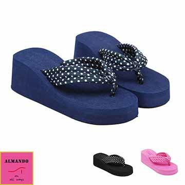 ALMANDO~SHOES~高坡跟夾腳鬆糕厚底涼拖鞋~ 女性人字拖  沙灘鞋  防水台夾腳