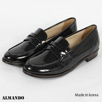 ALMANDO SHOES★韓製漆皮樂福鞋★Ladies Loafer 女性流行精品 (黑) 現貨+預購.