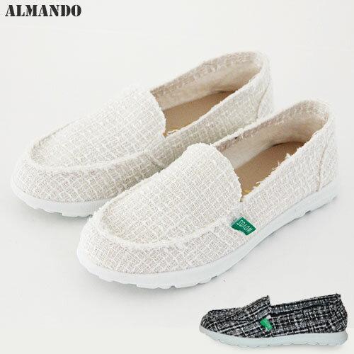 ALMANDO 不收邊毛呢格紋小香風休閒懶人鞋