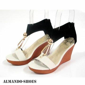 ALMANDO~SHOES雙色搭金屬環船行底涼鞋^! 酷夏 女性涼鞋