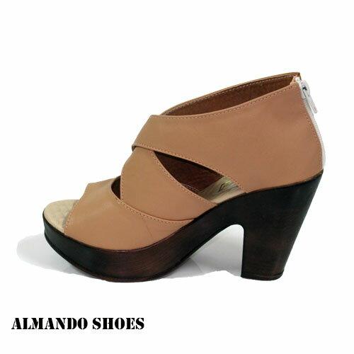 ALMANDO~SHOES~整件式皮革剪裁交叉厚底魚口高跟涼鞋~粉 女性涼鞋 299