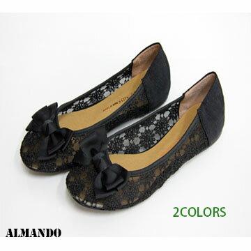 ALMANDO-SHOES★法式蝴蝶蕾絲公主裸肌夢幻娃娃鞋★氣質黑