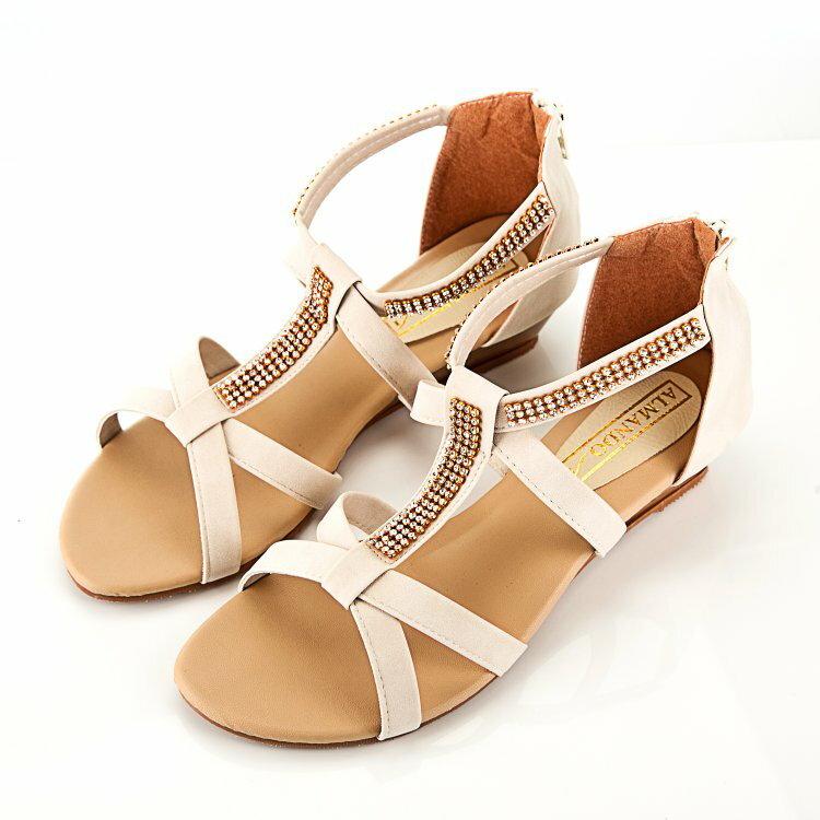 ALMANDO~SHOES~簡約貼鑽平底涼鞋~ 簡約氣質風^(beige 米^) MIT