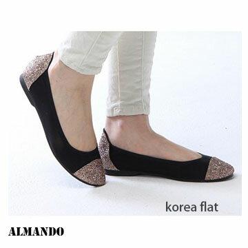 ALMANDO SHOES正韓版亮片平底包鞋~女性流行~人氣平底包鞋 (韓製