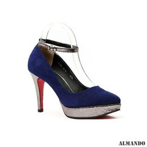 ALMANDO ★絨面踝帶細高跟鞋