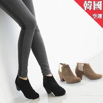 ALMANDO ★麂皮素面拼接鬆緊粗跟踝靴●韓國製