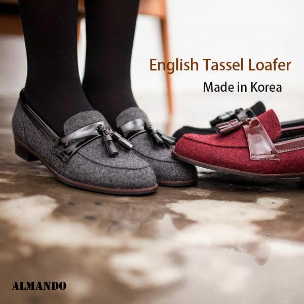 ALMANDO SHOES★英式絨布tassel loafer★正韓