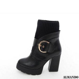 ALMANDO ★粗跟扣環保暖短靴