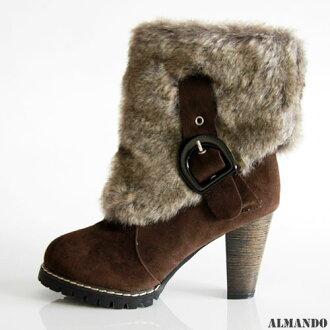 ALMANDO ★毛絨粗跟短靴