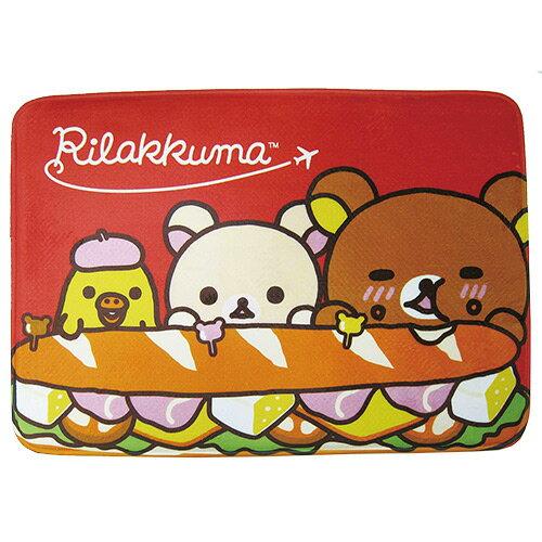 【享夢城堡】拉拉熊 漢堡好好吃 法蘭絨厚地墊(藍)(紅)